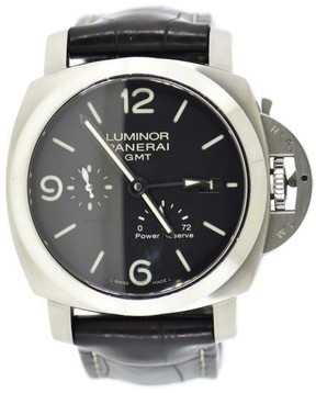 Panerai Luminor GMT 3 Day PAM321 Stainless Steel & Leather Automatic 44mm Mens Watch