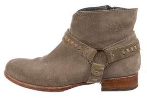 Alberto Fermani Suede Round-Toe Booties