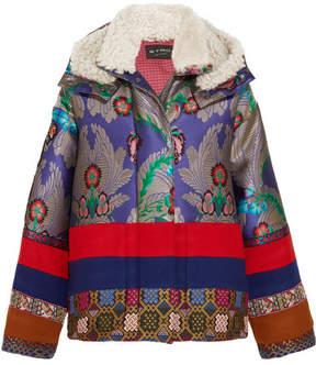 Etro Oversized Shearling-trimmed Jacquard And Wool-felt Jacket - Blue