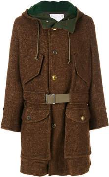 Sacai buckled hooded coat