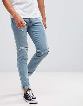 Abercrombie & Fitch Skinny Fit Jeans in Destroyed Light Wash