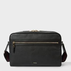 Paul Smith Men's Black Leather 'City Webbing' Cross-Body Bag