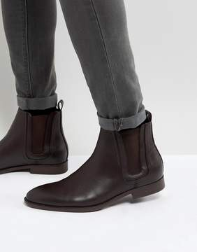 Asos Chelsea Boots In Brown Faux Leather With Panel Detail
