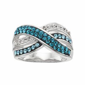 Confetti Blue Crystal Crisscross Ring