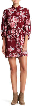 Collective Concepts Collared Waist Tie Floral Print Dress
