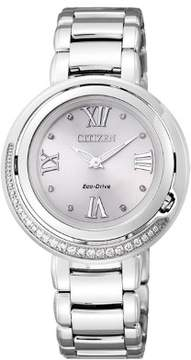 Citizen Women's 33mm Silver-Tone Calfskin Band Steel Case S. Sapphire Quartz Analog Watch EX1120-53X