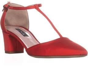 Sarah Jessica Parker Pet Buckle Heels, Red Grosgrain.