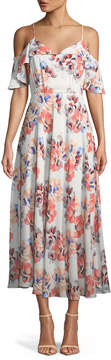 Cynthia Steffe Cece By Garden Blooms Cold-Shoulder Maxi Dress