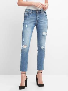 High Rise Slim Straight Jeans with Destruction