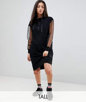 Noisy May Tall Hoody Dress With Sheer Sleeves