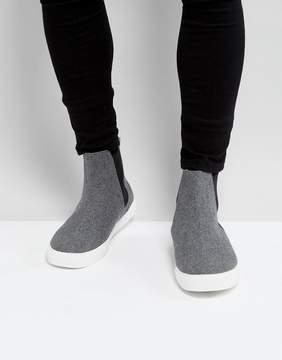 Asos Chelsea Sneakers In Gray Warm Handle