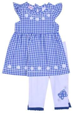 Nannette Little Girls' 4-6X Embroidered Gingham Top and Capri 2-Piece Outfit Set