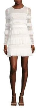 BCBGMAXAZRIA Long-Sleeve Tiered Ruffle Dress