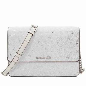 Michael Kors Large Metallic Floral Crossbody Bag - White Silver - ONE COLOR - STYLE