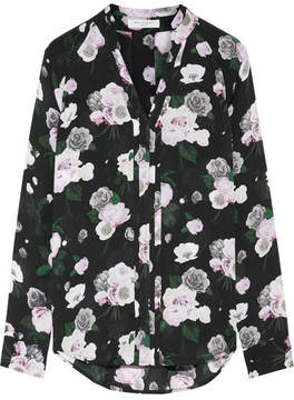 Equipment Liana Floral-print Silk Shirt - Black