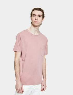 Officine Generale Garment Dyed Pocket Tee in Faded Rose