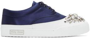 Miu Miu SSENSE Exclusive Navy Satin and Crystal Sneakers