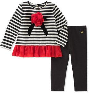 Kate Spade Striped Bow Shirt W/ Leggings, Size 12-24 Months