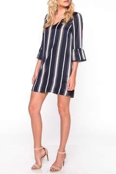 Everly Striped Pompom Dress