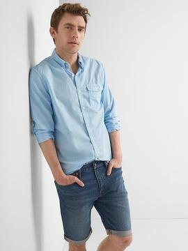 Gap True wash poplin garment-dye slim fit shirt
