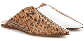 Acne Studios Amos leather and snakeskin slippers