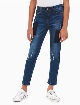Calvin Klein Jeans Girls Skinny Patchwork Ankle Jeans