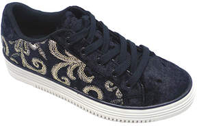 Wild Diva Black & Silver Embroidered Catina Sneaker