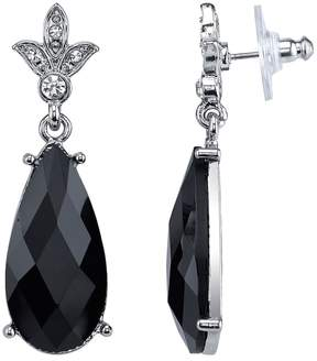 1928 Faceted Black Nickel Free Teardrop Earrings