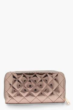 boohoo Ally Quilted Ziparound Purse