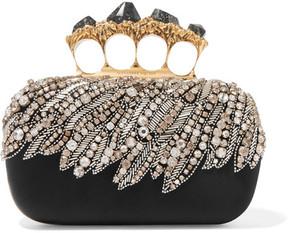 Alexander McQueen - Knuckle Embellished Satin Clutch - Black