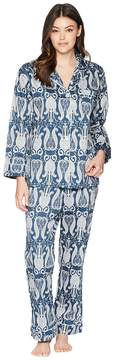 BedHead Navy Paisley Long Sleeve Long Pajamas Women's Pajama Sets