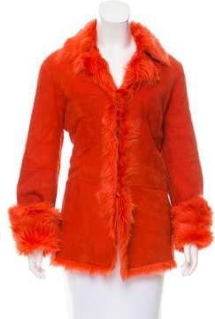Tahari Long Sleeve Shearling Jacket