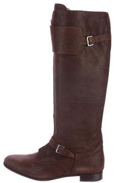 Hermes Triomphe Suede Knee-High Boots
