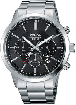 Pulsar Mens Stainless Steel Black Dial Chronograph Watch