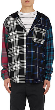 Alexander Wang Men's Patchwork Checked Wool Hooded Shirt