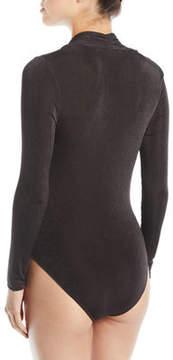 Astr Emery Plunging Plisse Bodysuit