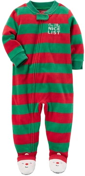 Carter's Toddler Boy On the Nice List Striped Microfleece One-Piece Christmas Pajamas