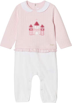 Mayoral Pink and White Castle Babygrow with Frill Waist