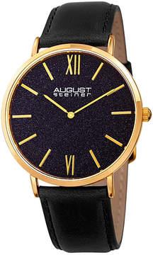 August Steiner Mens Black Strap Watch-As-8211ygbu