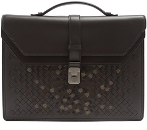 Bottega Veneta Embroidered intrecciato-leather briefcase