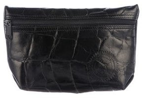 Carlos Falchi Embossed Leather Clutch