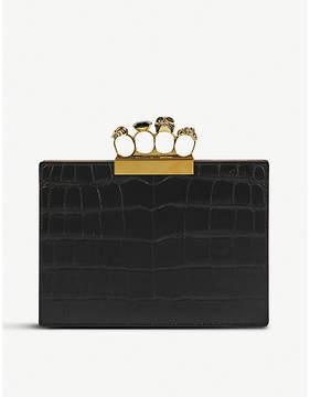 Alexander McQueen Black Embossed Avant Garde Knuckleduster Crocodile-Embossed Leather Clutch Bag
