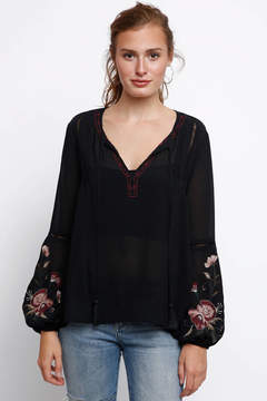 Astr Christy Embroidered Peasant Blouse