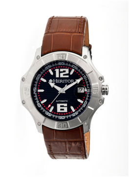 Heritor Automatic Norton Mens Leather Magnified Date-Silver/Brown Watches