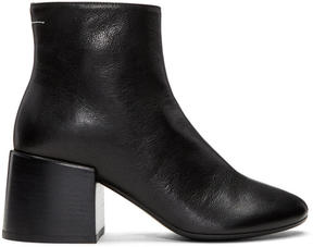 MM6 MAISON MARGIELA Black Leather Cube Heel Boots