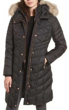 Andrew Marc Women's Meadow Down & Feather Fill Coat With Faux Fur Trim