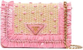 Prada Beige and pink raffia clutch