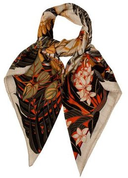 Hermes Flamingo Party Cashmere Silk Shawl