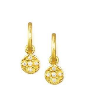 Elizabeth Locke 19k Gold Diamond Disc Earring Pendants