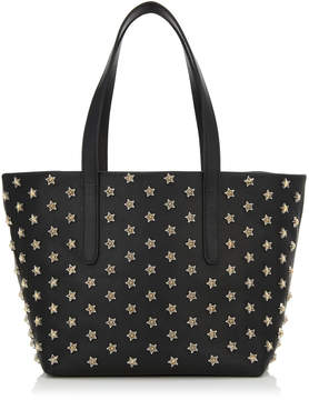 Jimmy Choo SOFIA/S Black Satin Leather Tote Bag with Silver and Gold Bicolour Star Studs
